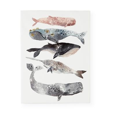 Kids Art Prints: United Thread Five Whales Art in All Wall Art