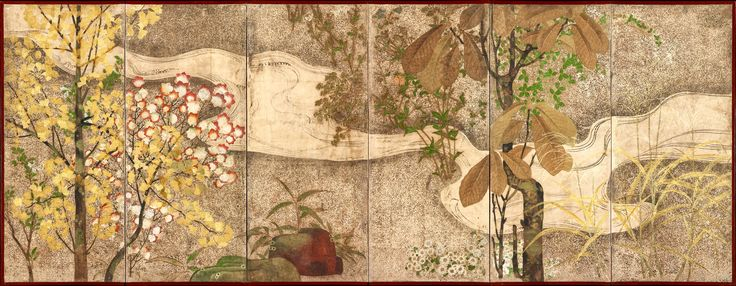 """Autumn Trees and Grasses by a Stream. Japanese Folding Screen. Edo period. The Met: """"The painting encapsulates stylistic features of Rinpa artists across a couple of generations, beginning with Tawaraya Sōtatsu in the early seventeenth century, and extending to Ogata Kōrin and anonymous Rinpa artists working in his wake."""""""