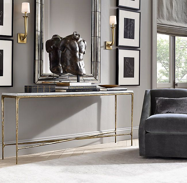 Thaddeus Forged Brass Marble Rectangular Entry Console Table Marble Console Table Dining Room Console Console Table Decorating