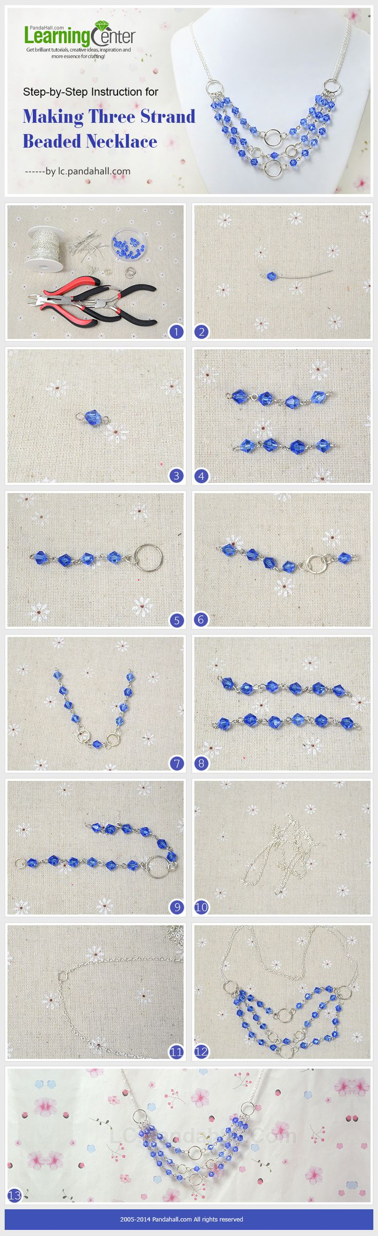 Step-by-Step Instruction for Making Three Strand Beaded Necklace