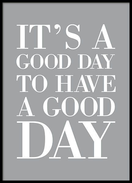 Plakat med tekst i grå og hvid med motiverende citat.