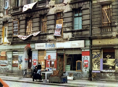 A street in the East Berlin area of Friedrichshain a year after the fall of the Berlin Wall.