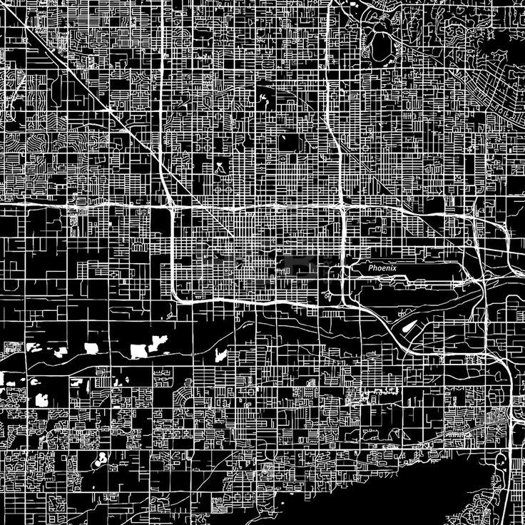 Phoenix, Arizona. Downtown vector map. #american #area #Arizona #atlas #background #black #clean #design by #Hebstreit