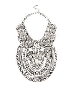 Silver (Silver) Silver Jewelled Grunge Drape Necklace | 292937192 | New Look