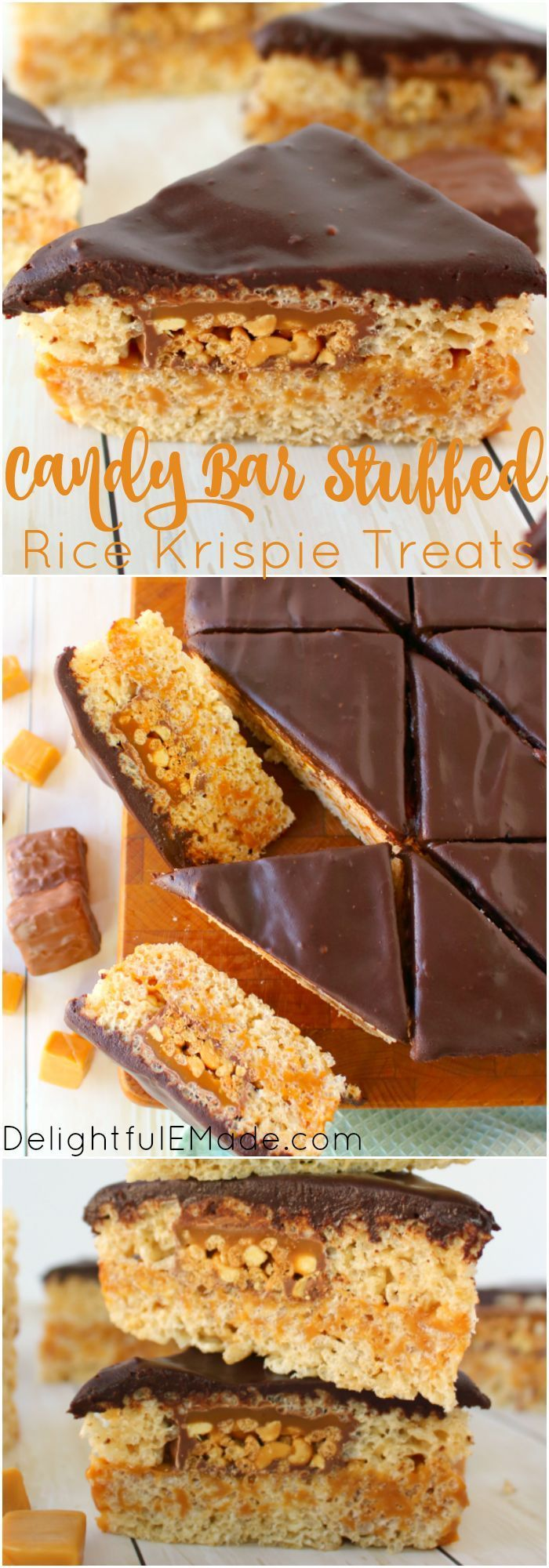 Cereal treats brought to a whole new glorious level! These Candy Bar Stuffed Rice Krispie Treats are loaded with SNICKERS Crisper bars, gooey caramel, all between layers of marshmallow cereal treats and topped with a thick layer of chocolate! #Delightfule