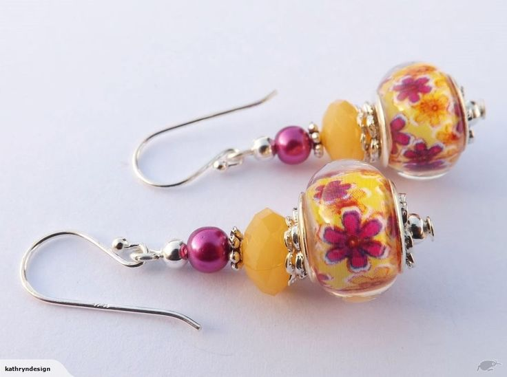 Purple Flowers on Yellow Bead Earrings, 925 Hooks | Trade Me