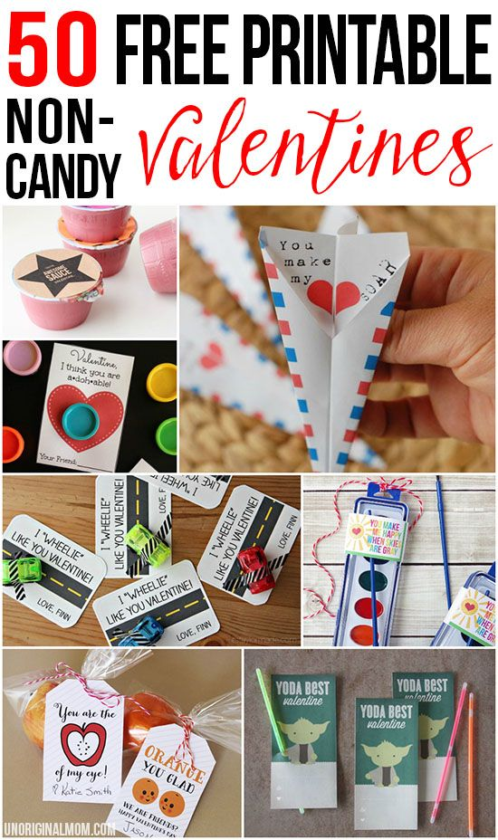 Amazing list of 50 free printable non-candy valentines - perfect for school valentines!