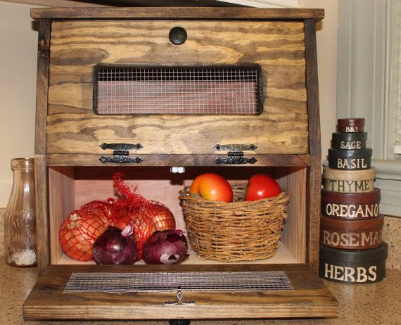 Rustic Bread Box wooden Vegetable Potato Bin  This is a NEW style Bread and Vegetable Bin. Perfect to sit on a counter top or for a smaller