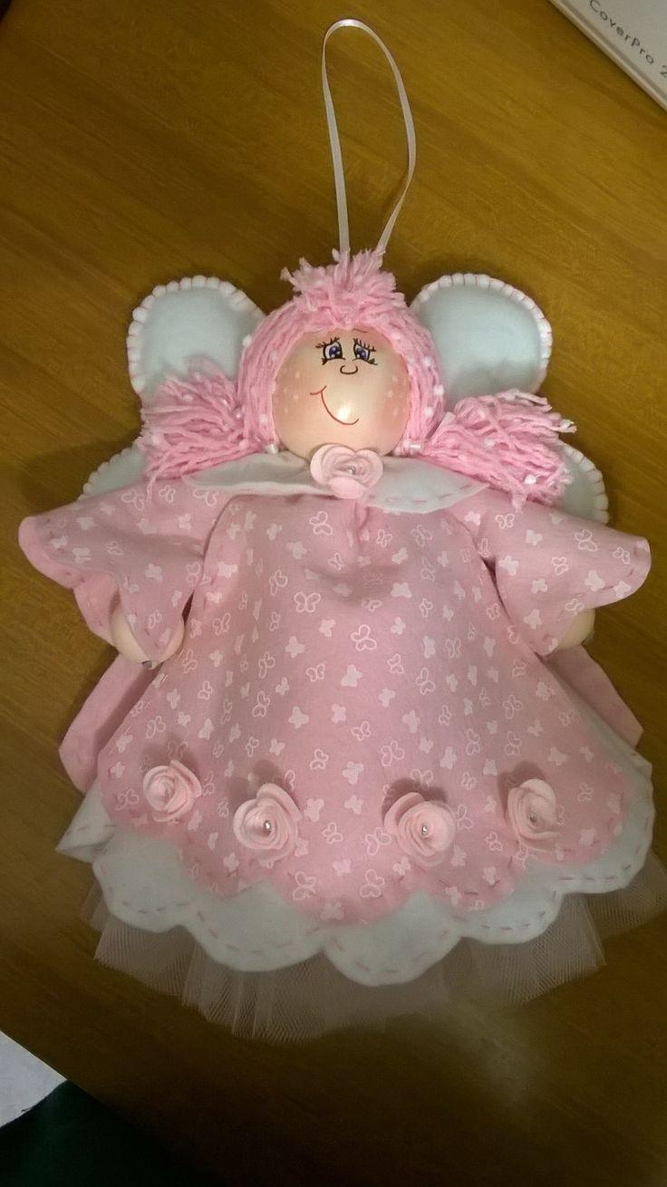 Fiocco nascita angioletto rosa