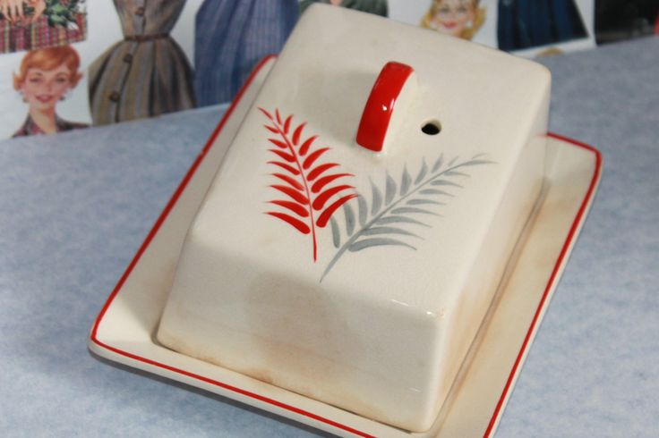 Red and Grey Fern Butter Dish. Midcentury Modern Home Style. By Royal Norfolk of England c1950s by AtticBazaar on Etsy