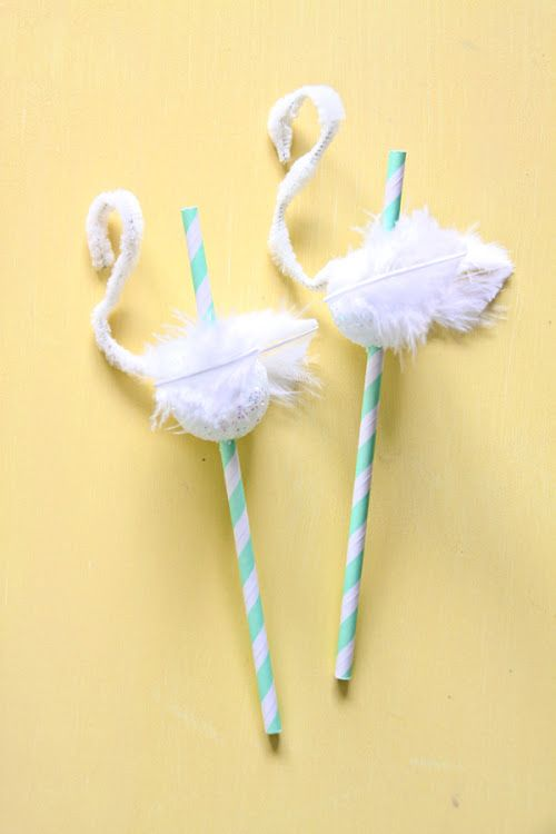 these would make amazing flamingo straws using pink pipe cleaners, pink feathers, and pink styrofoam balls :)