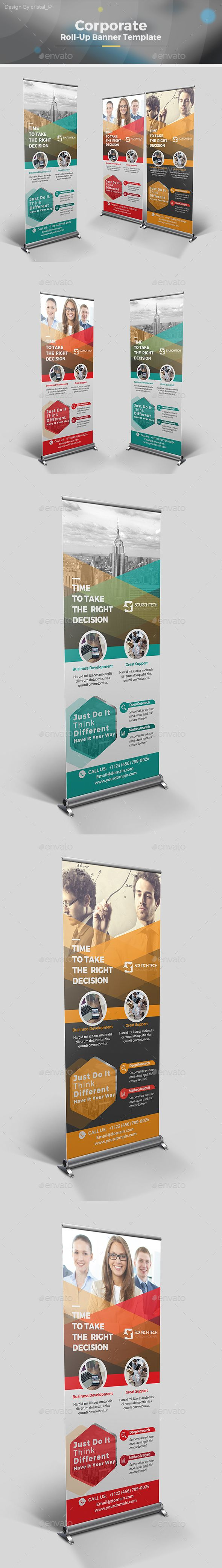 Roll-up Banner by CRISTAL_P Corporate Roll-up Banner Template Designis very easy to use andchange text,color,size,look and everything so please don't worry ab