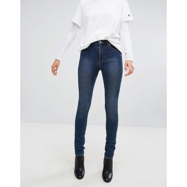 Cheap Monday Second Skin Skinny Jean (100 CAD) ❤ liked on Polyvore featuring jeans, blue, zipper jeans, high waisted skinny jeans, high waisted denim skinny jeans, blue jeans and super high rise skinny jeans
