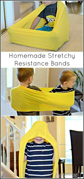 "Stretching bands are great to help kids work on body awareness and helps them feel secure. ""Body socks"" are great, too!"
