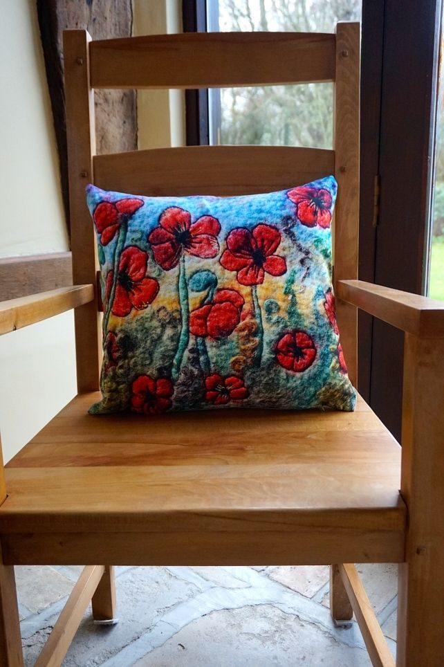 """The Poppies""  digitally printed 18""cushion from felt picture. £28.00"