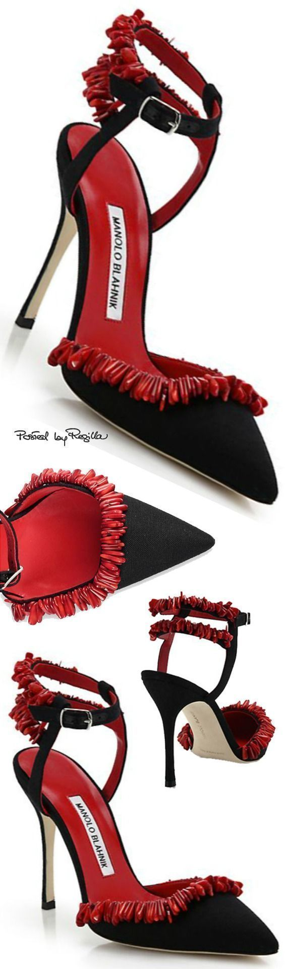 Manolo Blahnik ~ Ankle Strap Pumps, Black w Red Fringe via Regilla #manoloblahnikheelszapatos #manoloblahnikheelsbeautiful #manoloblahnikheelscalifornia #manoloblahnikpumps