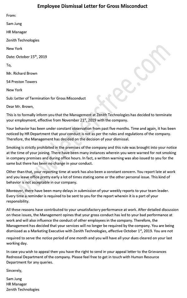 Employee Dismissal Letter For Gross Misconduct Lettering Hr