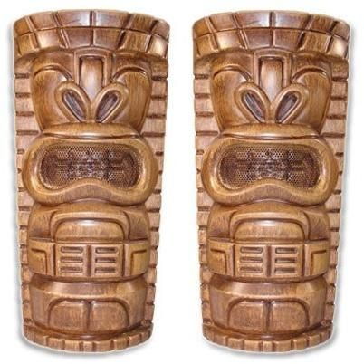 "Pair of Tiki Indoor/Outdoor 6.5"" 2-Way Stereo Speakers - All Weather Resistant - Tropically Inclined"