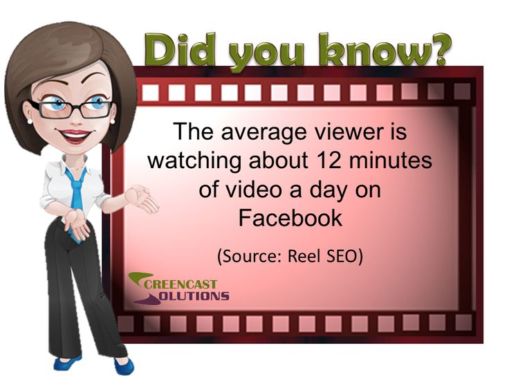 The average viewer is watching about 12 minutes of video a day on Facebook ~  (Source: Reel SEO)