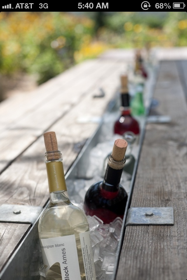 Remove the center board on a picnic table and insert a trough. Fill with ice to chill drinks!