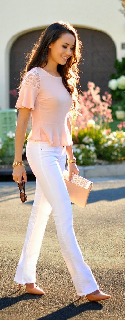 Best Fit Ever - Blush Lace with Skinny in White TC I love pants. Not skinny at bottom!!  I need that shape!!