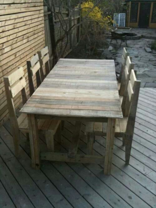 #Pallet table and chairs - http://dunway.info/pallets/index.html