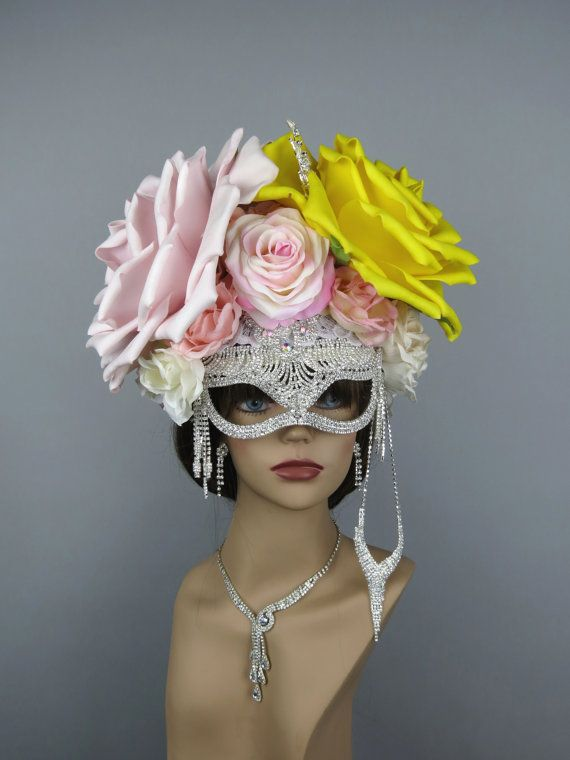 Halloween Masquerade Flowers Mask Ball by BridalWorldAccessory