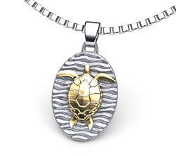 Sea turtle necklace with gold sea turtle, part of our sea turtle jewelry gift collection. Made in the U.S.A.