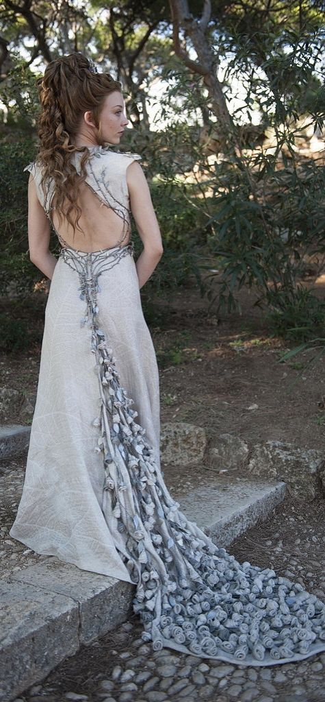 Game of Thrones style: Margaery Tyrell donned this open-backed gown with a cascading train on her wedding day.