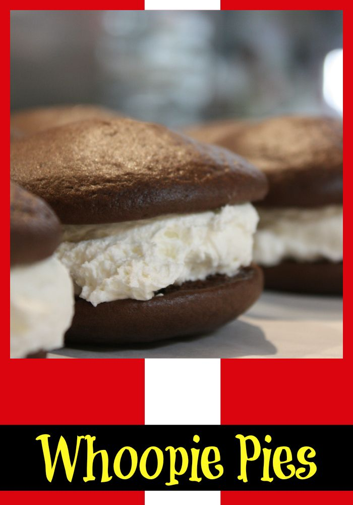 """This sinfully good recipe for Whoopie Pies, which are an Amish Pennsylvania Dutch specialty, tastes incredible with a cold glass of milk. With a rich creamy filling sandwiched between two mini chocolate cake rounds, """"from scratch"""" was never easier!"""