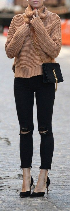 Street style | Camel turtle neck sweater with black distressed pants and heels