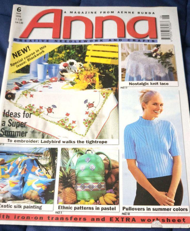 Anna Burda Needlework & Crafts magazine June 1998 knitting crochet embroidery #AnnaBurda