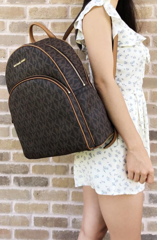 69100cc2f8eb Michael Kors Abbey Large Backpack Brown MK Signature PVC Leather - Gaby's  Bags