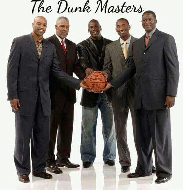 Vince 'Vinsanity' Carter, Julius 'Dr. J' Erving, Michael 'His Airness' Jordan, Kobe 'The Black Mamba' Bryant, and Dominique 'The Human Highlight Film' Wilkins.  NOTE: Jason Richardson should be in the place of Kobe Bryant. Jason was a WAY BETTER in-game dunker and 2-time NBA Dunk Champion.