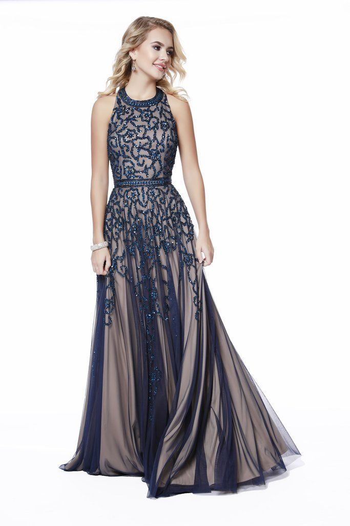 ff3c8919cd High Neck Embellished Belted Navy Fit to Flare Prom Dress 12205 in 2019