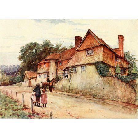 Cottages & Village Life of Rural England 1912 Surrey cottage Canvas Art - Alfred Quinton (18 x 24)