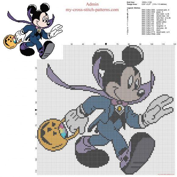 Disney Mickey Mouse elegant Halloween wear free cross stitch pattern