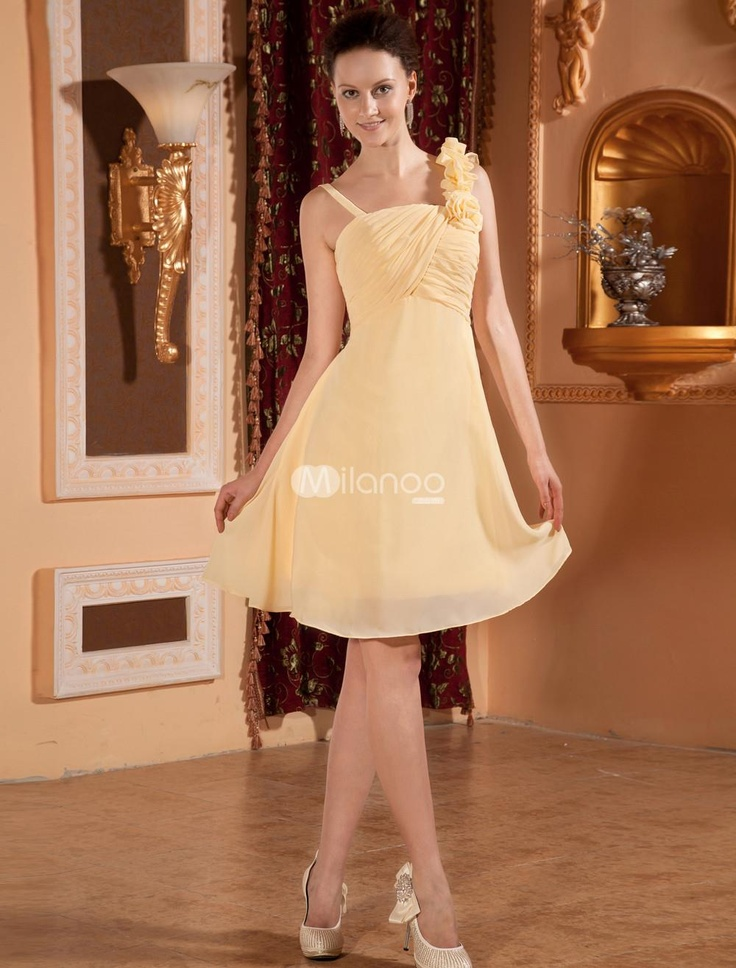 Yellow Chiffon One-shoulder Knee Length Womens Bridesmaid Dress. Yellow Chiffon One-shoulder Knee Length Womens Bridesmaid Dress. See More Bridesmaid Dresses at http://www.ourgreatshop.com/Bridesmaid-Dresses-C926.aspx