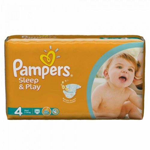 Pampers 4 Sleep & Play, 50 ks  Plenky Pampers pro miminko levně! Doprava zdarma při objednání nad 1000 Kč!   https://babyplenky.cz/