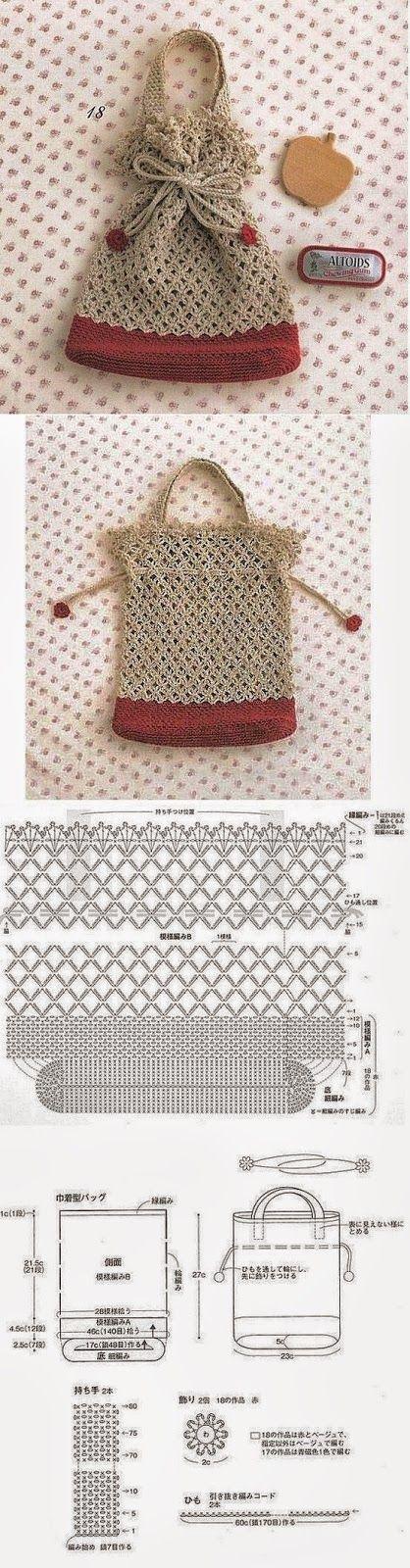 Moldes y esquemas de bolso ganchillo