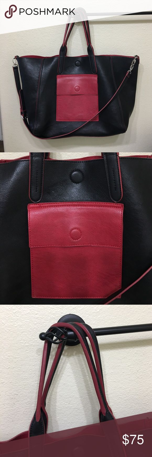 "Neimun Marcus leather tote bag purse reversible Neimun Marcus XL leather tote bag purse reversible very good condition very light scuffs includes long strap. Measures top flat 22"" long 13.25"" tall 7"" wide handle drop 8"" Neiman Marcus Bags Totes"