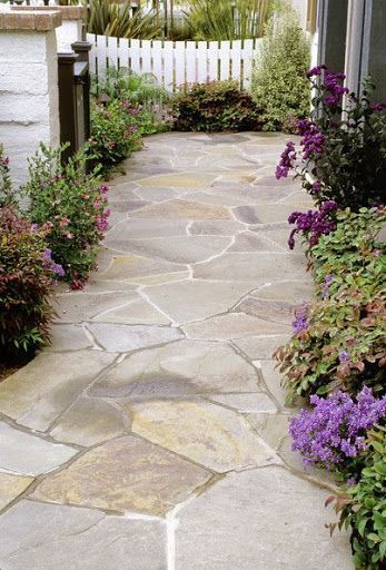Landscaping - LOVE this for a walkway to a backyard, etc.// oh yess. I love this idea.. love the purple plants/flowers?