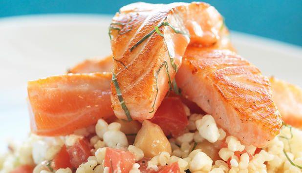 Sautéed Norwegian Salmon with Bulgur Wheat Salad - SalmonfromNorway.com