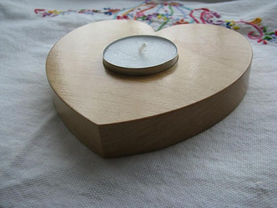 Solid Maple Hardwood Candle Holder Handmade Heart Shape