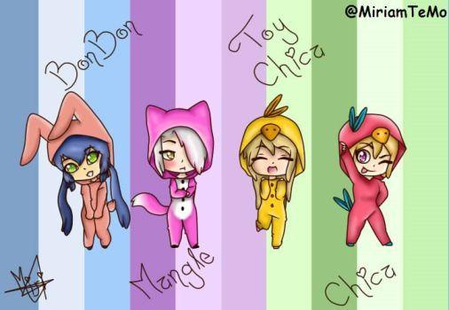 #FNAFHS Bonbon Mangle Toy Chica y Chica en Pijama by MiriamTellez257