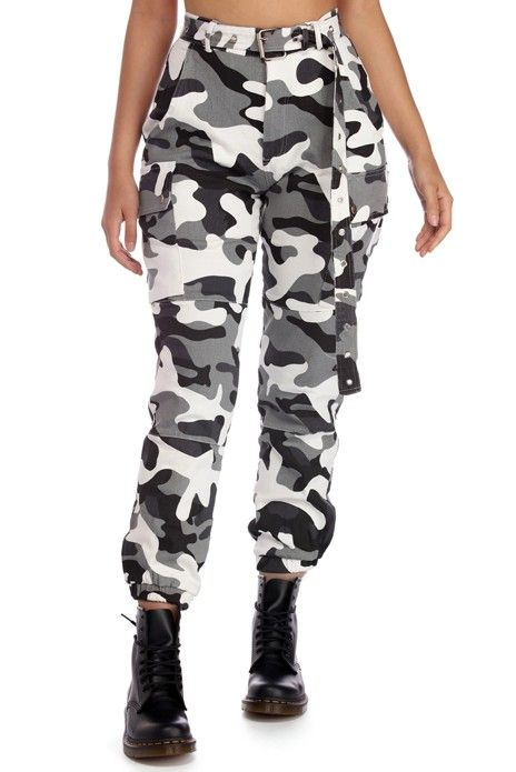 f6c27fd395 These cargo pants feature a black and gray camouflage print