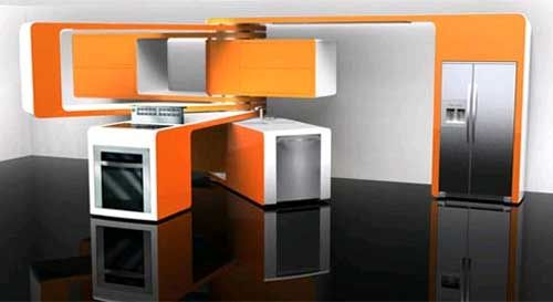 Thinking about flexibility in architecture means that there is a likelihood of moving parts. This design by Marcello Zuffo of a kitchen with movable parts shows how a purpose or function can determine the space or form of a place. Whatever the current use of the kitchen may be will lead to which part is moved.