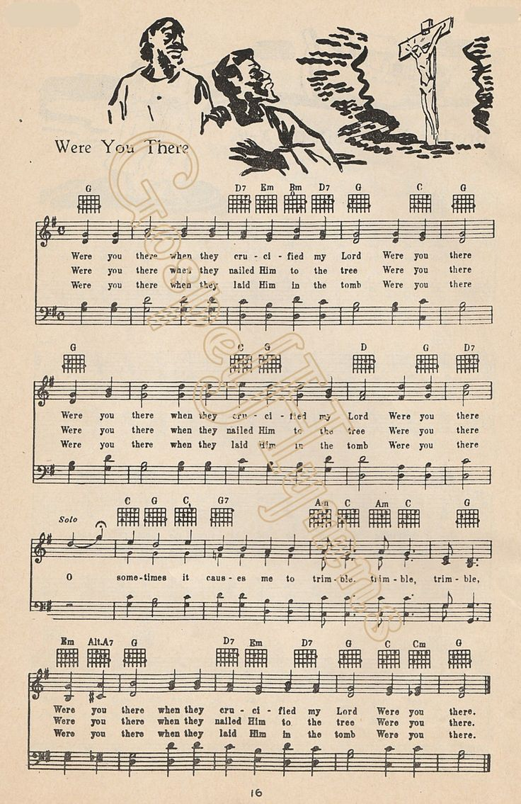 Were You There When They Crucified My Lord Sheet Music African American Art Hymn Art Folk Art Vintage Wall Art Gospel Music