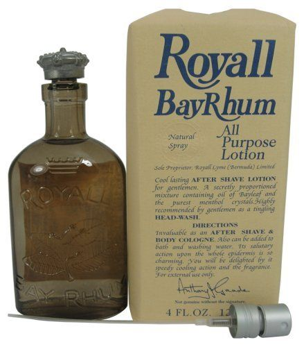 Royall Bayrhum Of Bermuda By Royall Fragrances For Men. All Purpose Lotion Spray / Splash 4.0 Oz. by Royall Fragrances. $22.23. Packaging for this product may vary from that shown in the image above. Royall Bay Rhum for Men by Royal Fragrances 4oz 120ml All purpose Lotion