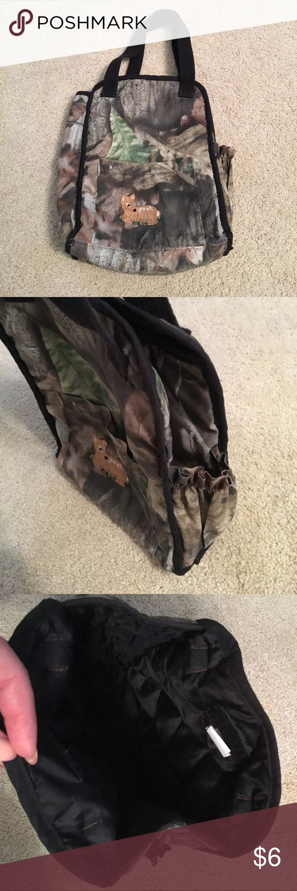 Little Deer Small Diaper Bag Small diaper bag, great for those quick trips to the store or for dad to take with him.  Camouflage with little deer embroidery, side pocket for bottle. 9in W x 11in H. Bags Baby Bags
